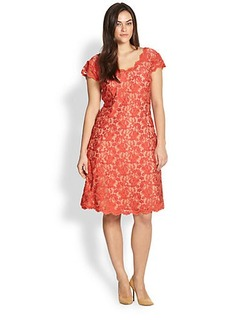 ABS, Sizes 14-24 Fit & Flare Lace Dress