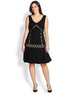 ABS, Sizes 14-24 Lace-Inset Dropped-Waist Dress