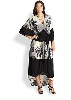 ABS, Sizes 14-24 Printed Caftan Maxi Dress