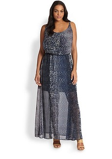 ABS, Sizes 14-24 Printed Maxi Dress