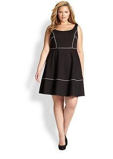ABS, Sizes 14-24 Squareneck Dress