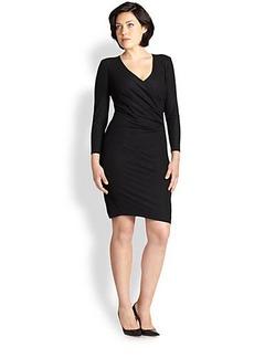 ABS, Sizes 14-24 Stretch Faux-Wrap Dress
