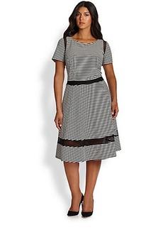 ABS, Sizes 14-24 Striped Mesh-Detail Jersey Dress