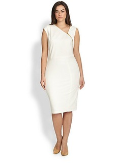 ABS, Sizes 14-24 Zipper-Detail Asymmetrical Dress