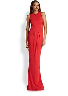 ABS Sleeveless Mesh-Inset Gown