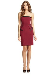 ABS Straples Leather-Trimmed Dress