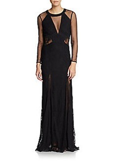 ABS Swiss Dot Illusion Lace Gown