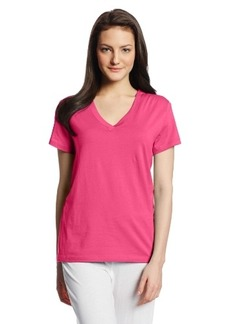 Hue Sleepwear Women's Short Sleeve Basic Vneck Pajama Top,,