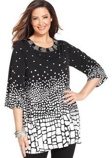 Alfani Plus Size Embellished-Neck Printed Tunic