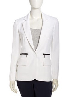 Nanette Lepore Superstar Zip-Pocket Blazer, White