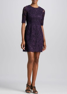 Shoshanna Half-Sleeve Lace Dress, Violet