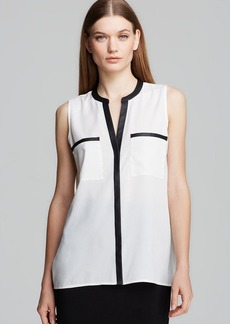 Calvin Klein Faux Leather Trim Top
