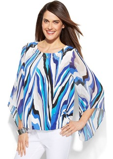 Alfani Petite Angel-Sleeve Printed Bubble Top