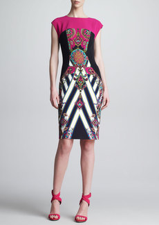 Etro Mixed-Print Cap-Sleeve Sheath Dress, Pink/Black