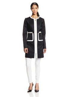 Via Spiga Women's Zip Front Contrast Rain Coat