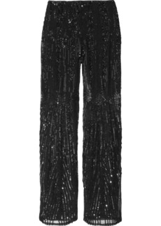 Alberta Ferretti Embellished silk straight-leg pants