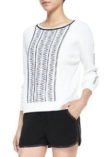 Erin Lambskin-Trim Printed-Knit Sweater   Erin Lambskin-Trim Printed-Knit Sweater