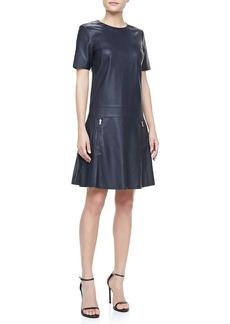 J Brand Ready to Wear Lowe Short-Sleeve Leather Dress
