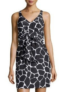 Susana Monaco V-Neck Giraffe-Print Charmeuse Dress, Black