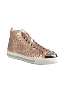 Miu Miu rose gold studded leather high top sneakers