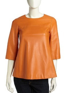 Lafayette 148 New York Patent Leather Zip Tunic, Persimmon