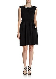 Ellen Tracy Bead-and-Lace Trimmed Knit Dress