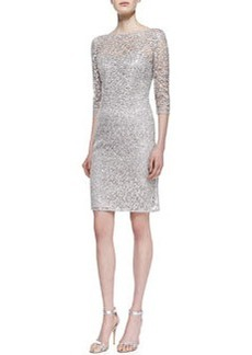 Kay Unger New York 3/4-Sleeve Lace & Sequin Overlay Cocktail Dress, Platinum