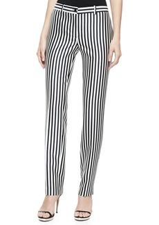 Michael Kors Striped Shantung Pants, Midnight/White