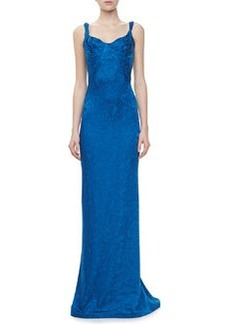 Zac Posen Embroidered Sweetheart Sleeveless Gown, Blue