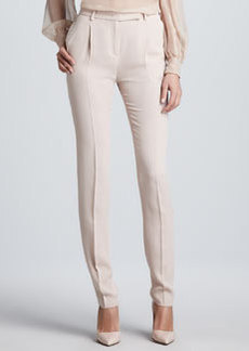 Valentino Stitched-Pleat Cady Pants, Poudre