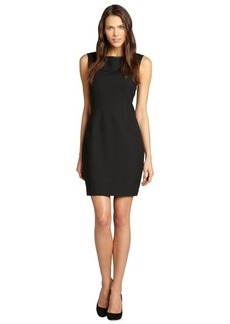 Tahari black faux leather trim 'Reese' sleeveless dress