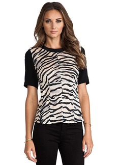 Rebecca Taylor Tiger Print Jersey Combo Top in Black