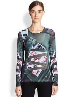 adidas Originals by Mary Katrantzou Printed Mesh Fitted Tee