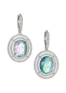 Adriana Orsini Abalone, Clear Quartz & Pavé Sterling Silver Doublet Drop Earrings