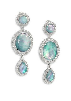 Adriana Orsini Abalone, Clear Quartz & Pavé Sterling Silver Mixed Doublet Drop Earrings