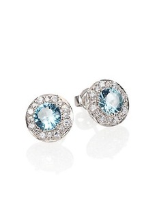 Adriana Orsini Aqua Framed Stud Earrings