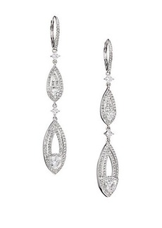 Adriana Orsini Athena Long Leverback Earrings/Silvertone