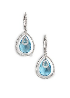 Adriana Orsini Faceted Framed Drop Earrings/Aqua