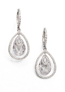Adriana Orsini Faceted Framed Drop Earrings/Clear