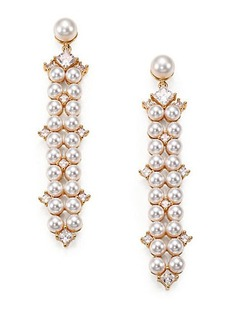 Adriana Orsini Garden Gate Drama Linear Faux Pearl Drop Earrings/Goldtone