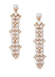 Adriana Orsini Garden Gate Drama Linear Faux Pearl Drop Earrings/Goldtone