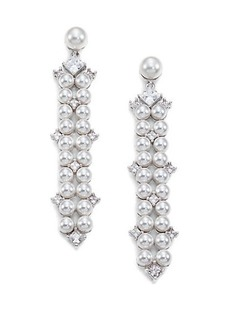 Adriana Orsini Garden Gate Drama Linear Faux Pearl Drop Earrings/Silvertone