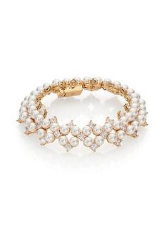 Adriana Orsini Garden Gate Faux Pearl Drama Bracelet/Goldtone