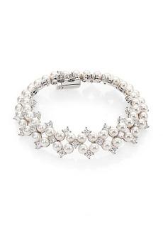 Adriana Orsini Garden Gate Faux Pearl Drama Bracelet/Silvertone