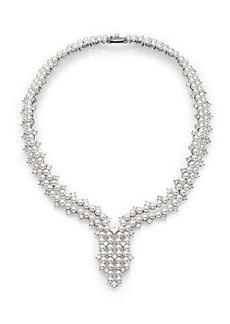 Adriana Orsini Garden Gate Faux Pearl Drama Y Necklace/Silvertone