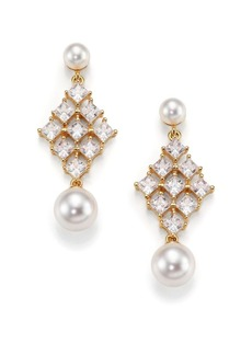 Adriana Orsini Garden Gate Faux Pearl Kite Drop Earrings/Goldtone