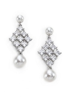 Adriana Orsini Garden Gate Faux Pearl Kite Drop Earrings/Silvertone
