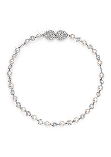 Adriana Orsini Garden Gate Faux Pearl Strand Necklace/Silvertone