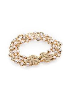 Adriana Orsini Garden Gate Faux Pearl Three-Strand Bracelet/Goldtone