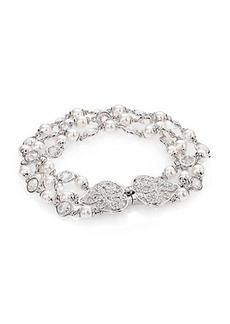 Adriana Orsini Garden Gate Faux Pearl Three-Strand Bracelet/Silvertone